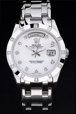 Stainless Steel Band Top Quality Silver Day-Date Luxury Watch 5236 Rolex Replica Aaa