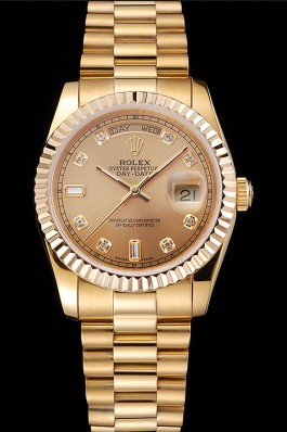 Gold Top Quality Rolex Day-Date Swiss Mechanism Luxury Watch 5371 Rolex Replica Aaa