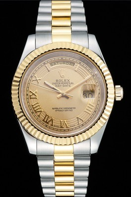 Rolex Day-Date Two Tone Stainless Steel 18k Gold Plated Gold Dial Rolex Replica Aaa