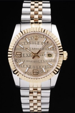 Rolex DateJust Two Tone Stainless Steel 18k Gold PlatedGold Dial Replica Rolex Datejust