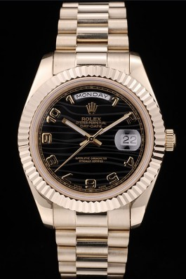 Rolex DayDate Black Patterned Dial Gold Stainless Steel Strap 41980 Rolex Replica Aaa