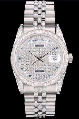 Rolex DayDate Diamond Plated Stainless Steel Bracelet Diamond Plated Dial 41985 Rolex Replica Aaa