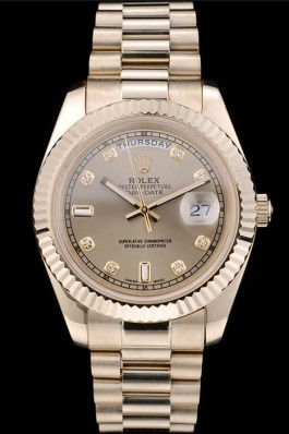Rolex DayDate Gold Stainless Steel Ribbed Bezel Goldish Dial 41979 Rolex Replica Aaa