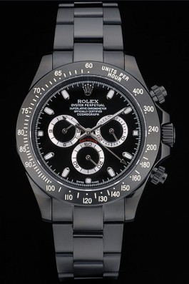 Rolex Daytona Black Ion Plated Tachymeter Black Stainless Steel Strap Black Dial 80247 Rolex Daytona Replica