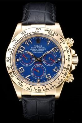 Rolex Daytona Gold Case Blue Dial Black Leather Strap Rolex Daytona Replica