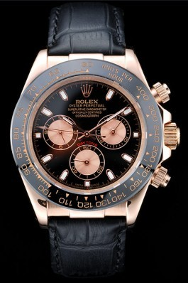 Rolex Daytona Rose Gold Case Black Dial Black Leather Strap Rolex Daytona Replica