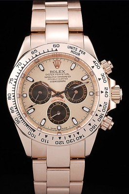 Rolex Daytona Rose Gold Plated Stainless Steel Bezel Rose Gold Dial Rolex Daytona Replica