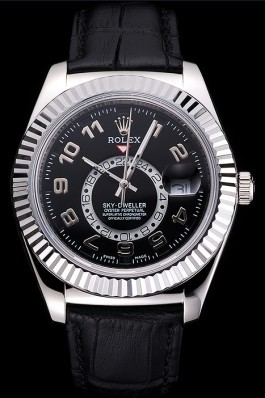 Rolex Sky Dweller Black Dial Stainless Steel Case Black Leather Strap Cheap Replica Rolex