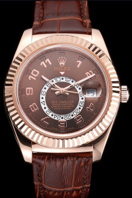Rolex Sky Dweller Brown Dial Rose Gold Case Brown Leather Strap Cheap Replica Rolex