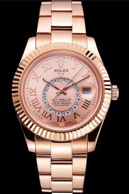 Rolex Sky Dweller Rose Gold Dial Rose Gold Case And Bracelet Cheap Replica Rolex
