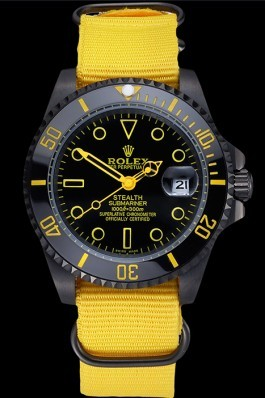 Rolex Stealth Submariner Yellow Nylon Strap 622012 Rolex Submariner Replica