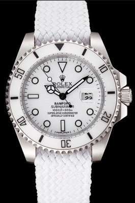 Rolex Submariner Bamford White Dial White Fabric Bracelet 1453867 Rolex Submariner Replica