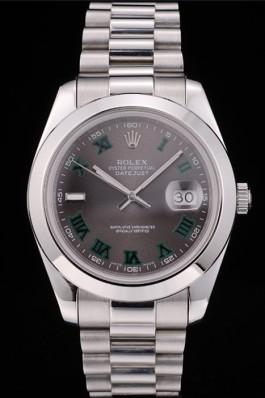 Rolex Swiss DateJust Polished Stainless Steel Bezel Grey Dial 42000 Replica Rolex Datejust