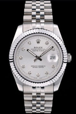 Rolex Swiss DateJust Stainless Steel Ribbed Bezel Silver Dial 41996 Replica Rolex Datejust