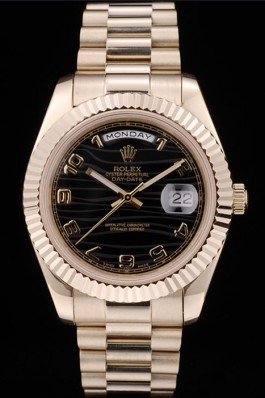Rolex Swiss DayDate Gold Stainless Steel Ribbed Bezel Black Dial 41998 Rolex Replica Aaa