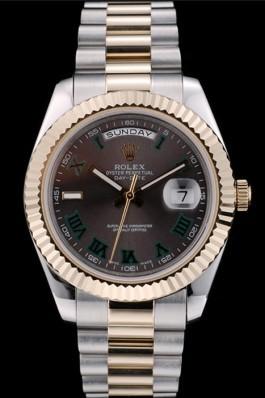 Rolex Swiss DayDate Gold Stainless Steel Ribbed Bezel Grey Dial 41909 Rolex Replica Aaa