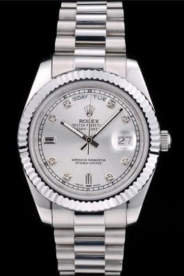 Rolex Swiss DayDate Stainless Steel Ribbed Bezel Silver Dial 41995 Rolex Replica Aaa
