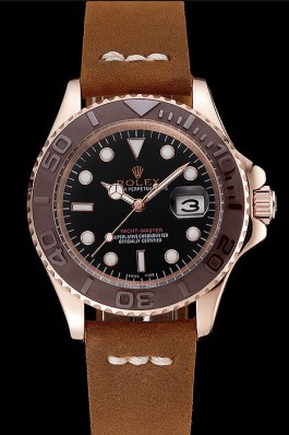 Rolex Yacht Master Black Dial Brown Bezel Rose Gold Case Brown Leather Bracelet 1453860 Replica Rolex