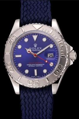 Rolex Yacht Master Blue Dial Blue Fabric Bracelet 1453868 Replica Rolex