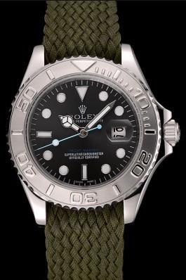 Rolex Yacht Master Green Dial Green Fabric Bracelet 1453869 Replica Rolex