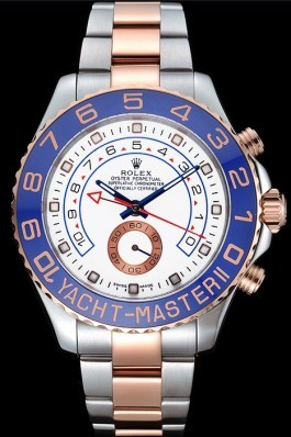 Rolex Yacht-Master II White Dial Blue Bezel Stainless Steel and Rose Gold Bracelet 622270 Rolex Replica Cheap