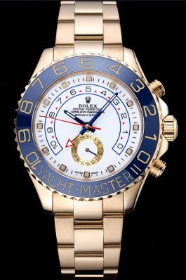 Rolex Yachtmaster II White Dial Blue Bezel Gold Bracelet 622271 Rolex Replica Cheap