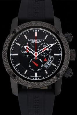 Replica Round Burberry Sport Athlete Chronograph Black Case Triple-eye Black Rubber Bracelet   622619