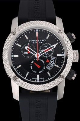 Replica Round Burberry Sport Athlete Chronograph White Case Triple-eye Black Rubber Bracelet   622620