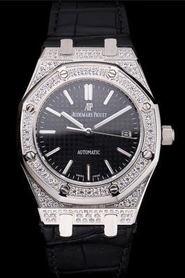 Swiss Audemars Piguet Royal Oak Black Dial Steel Case With Diamonds Black Leather Strap Piguet Replica