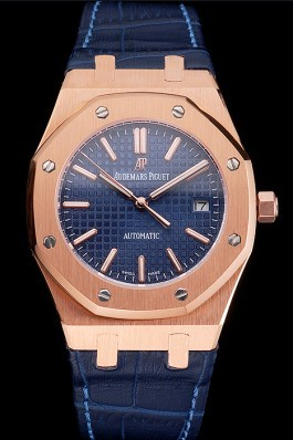 Swiss Audemars Piguet Royal Oak Blue Dial Gold Case Blue Leather Strap Piguet Replica