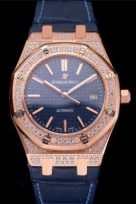 Swiss Audemars Piguet Royal Oak Blue Dial Gold Case With Diamonds Blue Leather Strap Piguet Replica