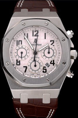 Swiss Audemars Piguet Royal Oak Chronograph White Dial Stainless Steel Case Brown Leather Strap 622864 Piguet Replica