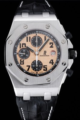 Swiss Audemars Piguet Royal Oak Offshore Gold Dial Stainless Steel Case Black Leather Strap 622849 Audemars Piguet Royal Oak Replica Aaa