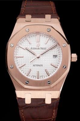 Swiss Audemars Piguet Royal Oak White Dial Gold Case Brown Leather Strap Piguet Replica