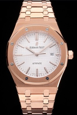 Swiss Audemars Piguet Royal Oak White Dial Rose Gold Case And Bracelet Piguet Replica