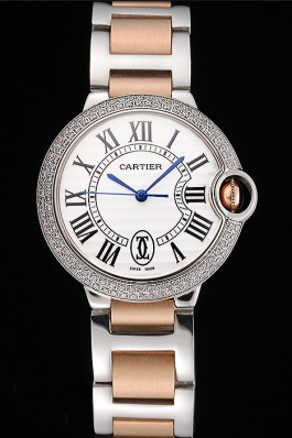 Swiss Ballon Blue De Cartier Diamond Steel Case White Dial Roman Numerals Two Tone Bracelet 622647 Cartier Replica
