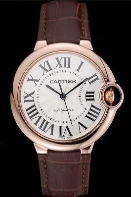 Swiss Ballon Blue De Cartier Gold Case White Dial Roman Numerals Brown Leather Bracelet 622651 Cartier Replica