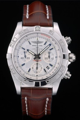 Swiss Breitling Certifie Stainless Steel Bezel Brown Croco Leather Bracelet White Dial 80285 Fake Breitling