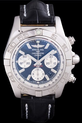 Swiss Breitling Chronomat Black Dial with Black Leather Band 621520 Breitling Chronomat