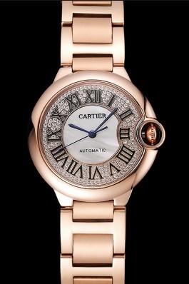 Swiss Cartier Ballon Bleu 40 MM Diamond Dial Rose Gold Bracelet 1453883 Cartier Replica