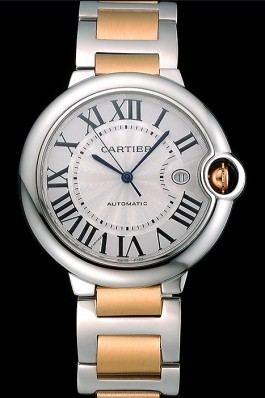Swiss Cartier Ballon Bleu 42mm Silver Dial Stainless Steel Case Two Tone Gold Bracelet 622877 Cartier Replica