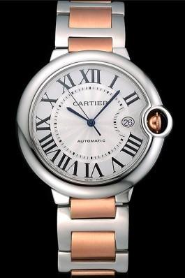 Swiss Cartier Ballon Bleu 42mm Silver Dial Stainless Steel Case Two Tone Rose Gold Bracelet 622875 Cartier Replica