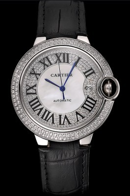 Swiss Cartier Ballon Bleu 46 MM Diamond Dial Diamond Case Black Leather Bracelet 1453894 Cartier Replica