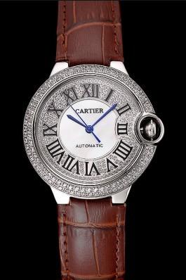 Swiss Cartier Ballon Bleu 46 MM Diamond Dial Diamond Case Brown Leather Bracelet 1453895 Cartier Replica