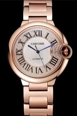 Swiss Cartier Ballon Bleu 46 MM Diamond Dial Rose Gold Bracelet 1453882 Cartier Replica