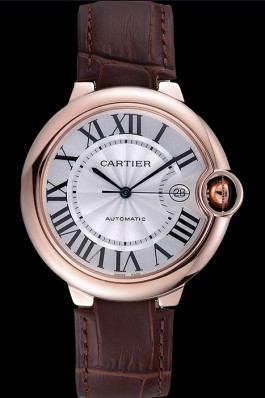 Swiss Cartier Ballon Bleu Brown Leather Bracelet 622064 Cartier Replica