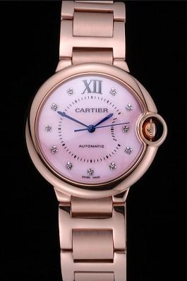 Swiss Cartier Ballon Bleu de Cartier Pink Diamond Dial Gold Bracelet 622556 Cartier Replica