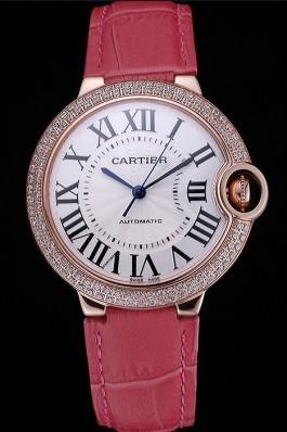 Swiss Cartier Ballon Bleu de Cartier White Dial Diamonds Case Pink Leather Bracelet 622553 Cartier Replica