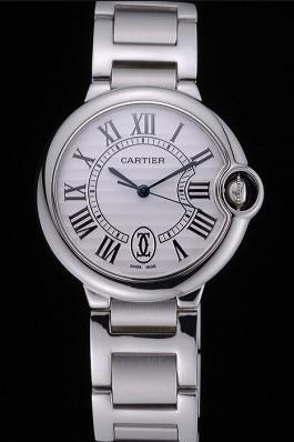 Swiss Cartier Ballon Bleu de Cartier White Dial Roman Numerals Stainless Steel Bracelet 622555 Cartier Replica