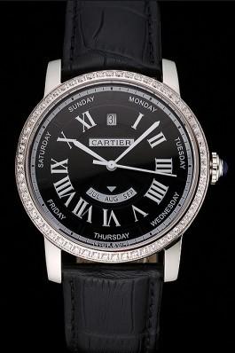 Swiss Cartier Ballon Bleu GMT Silver Dial Stainless Steel Case Black Leather Strap Cartier Replica